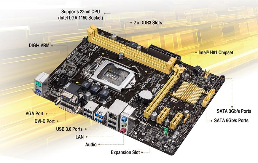 Intel H81チップセット MicroATXマザーボード LGA1150 ASUS:ASU-H81M-E